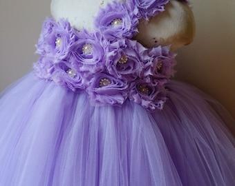 Lavender flower girl dress, tutu dress, flower girl dress, baby dress, child dress, birthday outfit, vintage wedding, girl dress, wisteria
