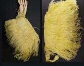 Vintage 1930s Purse//30s Purse// Handbag// Clutch// Marabou Feathers// Art Nouveau//Art Deco//Yellow