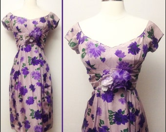 Vintage 1950s Dress//50s Dress//Purple//Lavender//Mod//New Look//Rockabilly//Party Dress//Vivid Colors//Hourglass