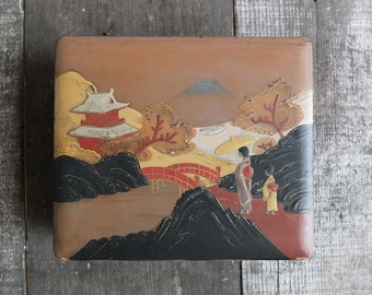 Vintage Japanese Lacquer Jewelry Box / Japanese Lacquerware Wood Box