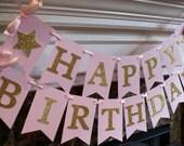 Twinkle Twinkle Little Star Happy Birthday Banner, Pink and Gold Twinkle Birthday Banner, Twinkle Baby Shower Banner (TWIN-1)