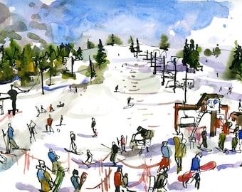 Lake Tahoe Winter Skiing, California - archival print from an original watercolor sketch