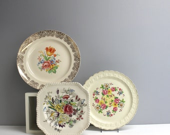 Three vintage decorative floral plates - shabby cottage decor - flea market chic - plate wall decor - instant plate collection