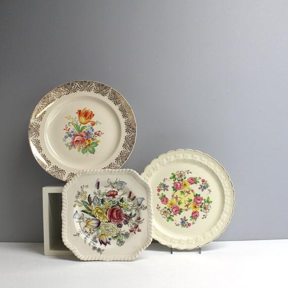 Three vintage decorative floral plates shabby cottage decor