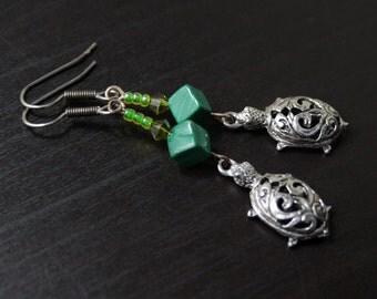Malachite Turtle earrings