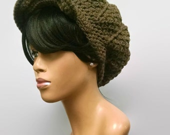 MADE TO ORDER Taupe/ Greyish Brown Newsboy Hat/ Beanie with brim/strap/ wooden button and free earrings (not pictured)/ Scarf not included