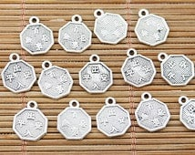 10 Chinese Coin Charms, Chinese Charms, DIY Charms, Silver Charms, Double Sided Charms, Supplies, Beading Supplies, Charms, Chinese Supplies