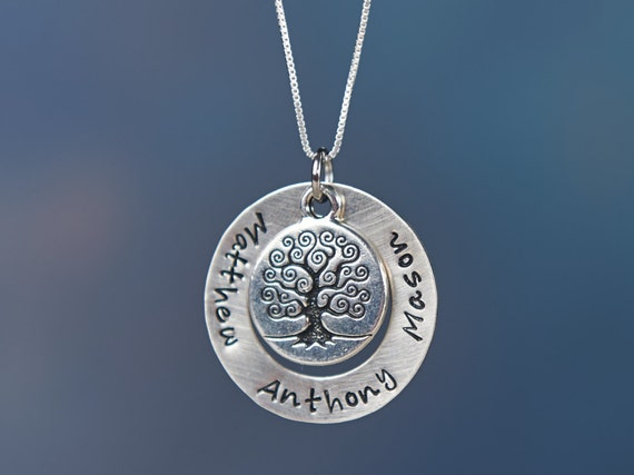 Personalized Family Tree Necklace: Hand Stamped Personalized Sterling Silver Necklace with Family Tree