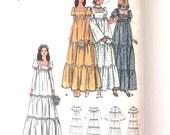 1970s Wedding or Bridesmaid Dress Sewing Pattern Butterick 6961 Womens Boho Prairie Tiered Empire Waist Maxi Dress Pattern Size 12 Bust 34