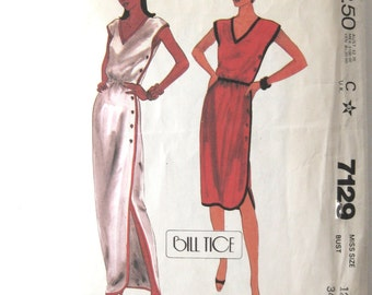 1980 Bill Tice Dress Pattern McCalls 7129 Womens Quick & Easy Pullover Side Buttoned Dress Sewing Pattern Sleeveless Misses Size 12 Bust 34