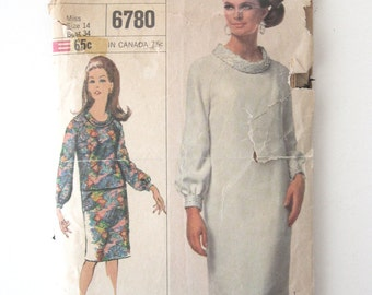 1960s Dress or Top and Skirt Pattern Simplicity 6780 Womens Long Sleeve Roll Collar Dress or Top, Slim Skirt Sewing Pattern Size 14 Bust 34