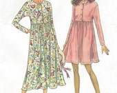 90s Womens Pullover Dress in 2 Lengths Mini or Midi Simplicity Sewing Pattern Size 6 8 10 12 14 16 18 20 22 24 Bust 30 1/2 to 46 UnCut