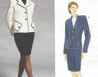 90s Bill Blass Womens Lined Jacket & Pencil Skirt Vogue Sewing Pattern 1840 Size 8 10 12 Bust 31 1/2 to 34 UnCut American Designer Vogue