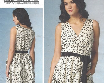 DKNY Womens Sexy Flirty Dress with Peplum OOP Vogue Sewing Pattern V1448 Size 6 8 10 12 14 Bust 30 1/2 to 36 UnCut Vogue American Designer