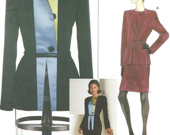 90s Geoffrey Beene Womens Hip Length Jacket and Skirt Vogue Sewing Pattern 2045 Size 8 10 12 Bust 31 1/2 to 34 UnCut NO Envelope