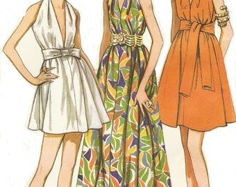 1960s Womens Goddess Dress Mini or Maxi McCalls Sewing Pattern 9656 Size 16 Bust 38 UnCut Vintage Evening Gown or Cocktail Dress
