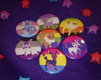 Full Set of 9 Flags - Pride Evolutions - Pokemon Eevee-lution LGBTA 32mm badge