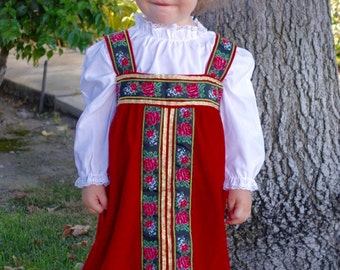 "Sarafan ""Alyonushka"", Little Russian Beauty costume, red with floral trims traditional dress, size 18-24 mo"