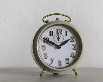 Large French Vintage Alarm Clock Loft Deco Pale Grey