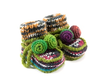 Knitted Baby Booties, Knit Baby Shoes - Brown, Black, Green and Orange, 3 - 6 months