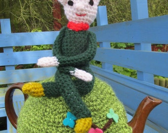Crochet Pixie Sitting on a Hill Tea Cosy - Ready To Ship