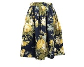 Yellow Rose of Texas Floral Gathered Full Skirt Size Large 8 10 Ready to Ship