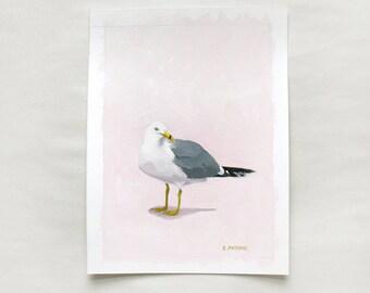 "5x7"" bird painting - ""Seagull 15"""