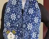 Dark Blue & White Flat Cat Fleece Scarf - Nordic Pattern - Limited Edition