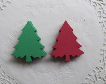 24 Large Cardstock Red and Green Christmas Trees- Embellishments, Christmas Tags