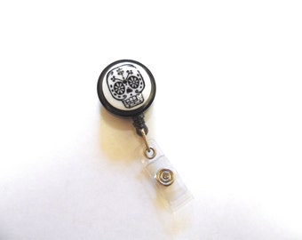 Sugar Skull Retractable ID Badge Reel Tattoo Day of the Dead Name Tag Holder