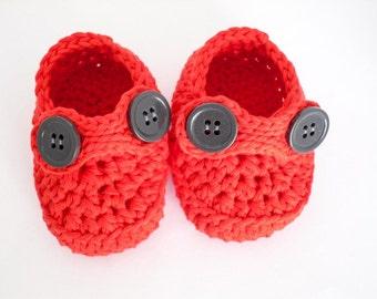 Crochet Red Baby Booties, Baby Bootees, Crochet Baby Shoes, Baby Striders, Baby Slippers, Baby Loafers, 0-3 months, Newborn booties