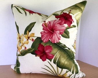Floral Tropical Barkcloth Pillow Cover