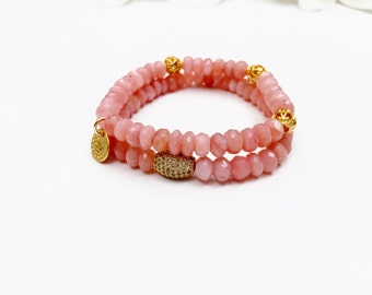 Peruvian Pink Opal Bracelet with Gold Vermeil Charms and CZ Bead