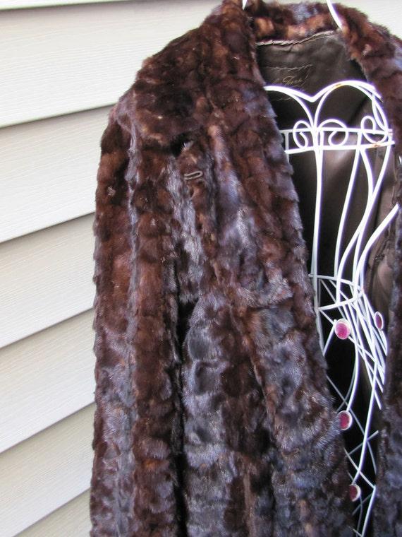 Rich Chocolate Brown Mink Fur Car Coat - Chevron Size M-L