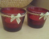 Tea light Candle Holders x 2 - Red Glass - votive - mood lighting - Christmas  - Cupid and Psyche