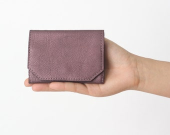 Genuine Leather Wallet Berry Metallic,  flat womens wallet