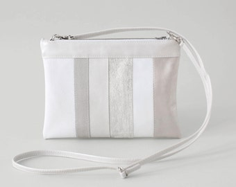 silver striped leather clutch, bridal clutch, bridal bag, zip clutch, evening bag, leather purse