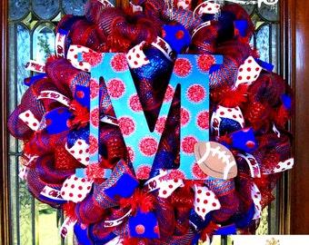 Deco Mesh Ole Miss Fan Wreath, deco mesh wreath, wreath, football wreath