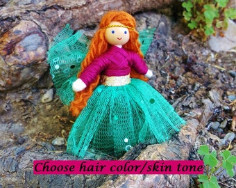 Fairy Doll - Waldorf Fairy- Green Fairy Doll - Fairy Princess- Bendy Doll - Pink - Red Hair - Custom Fairy Doll - Fairy Garden