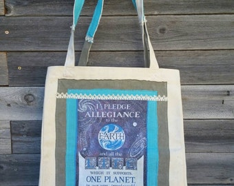 OOAK Earth Pledge Canvas Bag - Love for Mother Nature -  Reusable Earth Friendly - Allegiance to the Earth - Hippie Tree Hugger Bag Purse