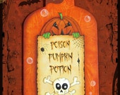 E PATTERN - Poison Pumpkin Potion! Fun Halloween Pattern with Pumpkin & Funny Skull - Designed and Painted by Sharon Bond - FAAP