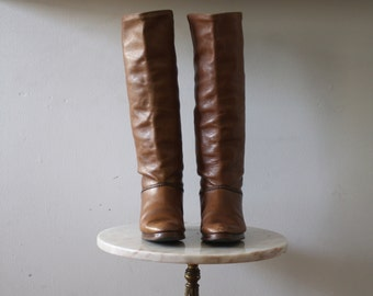 TALL Boots Leather - 7.5 8 Women's Brown Knee High - 1970s Vintage