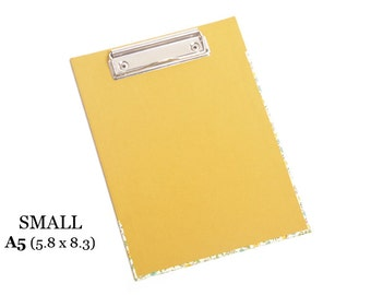"""Small CLIPBOARD – For A5 (5.8"""" x 8.3"""") paper. Mustard colored and flowers pattern paper."""
