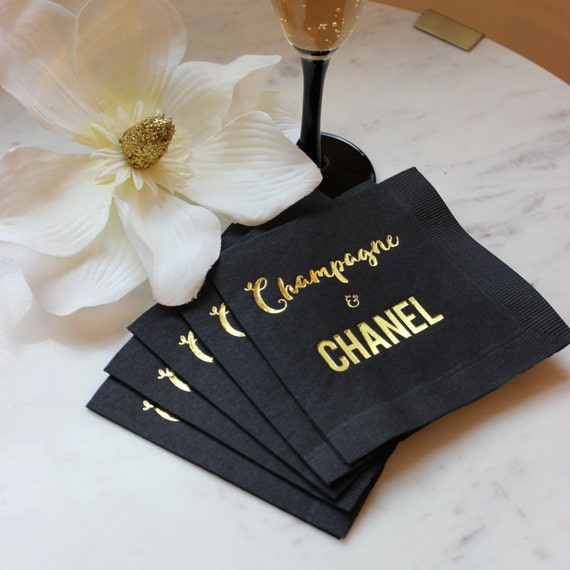Black And Gold Beverage Napkins: Chanel Party Gold Cocktail Napkin Chanel Napkin Gold Foil