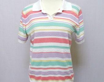 Striped Shirt - Pastel - 80s Sweater - Retro Vintage