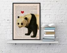Panda bear in love- Panda with Red heart Printed on Vintage Book sheet - Nursery wall art BPAN228