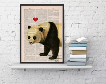 Summer Sale Panda bear in love Panda with Red heart Printed on Vintage Book sheet  Nursery wall art ANI228
