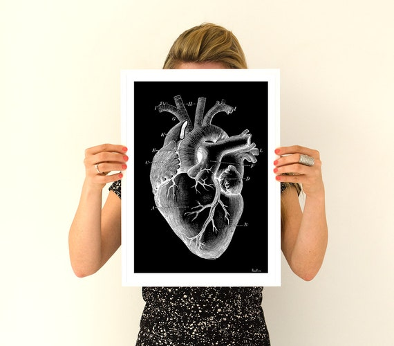 Human heart, black poster Anatomy Anatomical art prints, wall art poster  gifts for him , gifts for doctor SKA124WA3