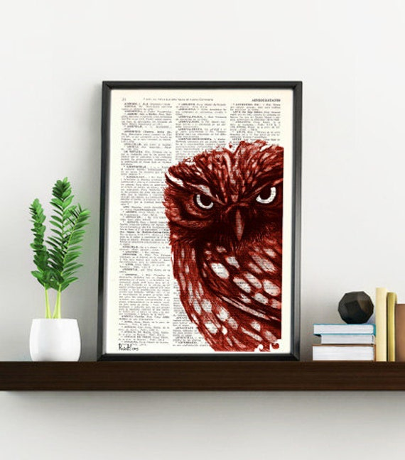 Spring Sale Dictionary print page book art Red Owl Print  Vintage Book altered art dictionary page illustration book print BPAN021