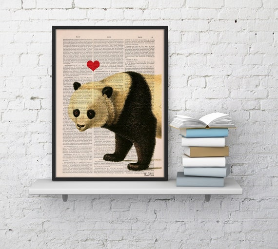 Panda bear in love Panda with Red heart Printed on Vintage Book sheet  Nursery wall art ANI228b